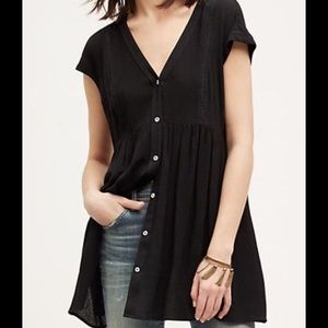 Anthropologie Tops - Vanessa Virginia black ladder lace button tunic